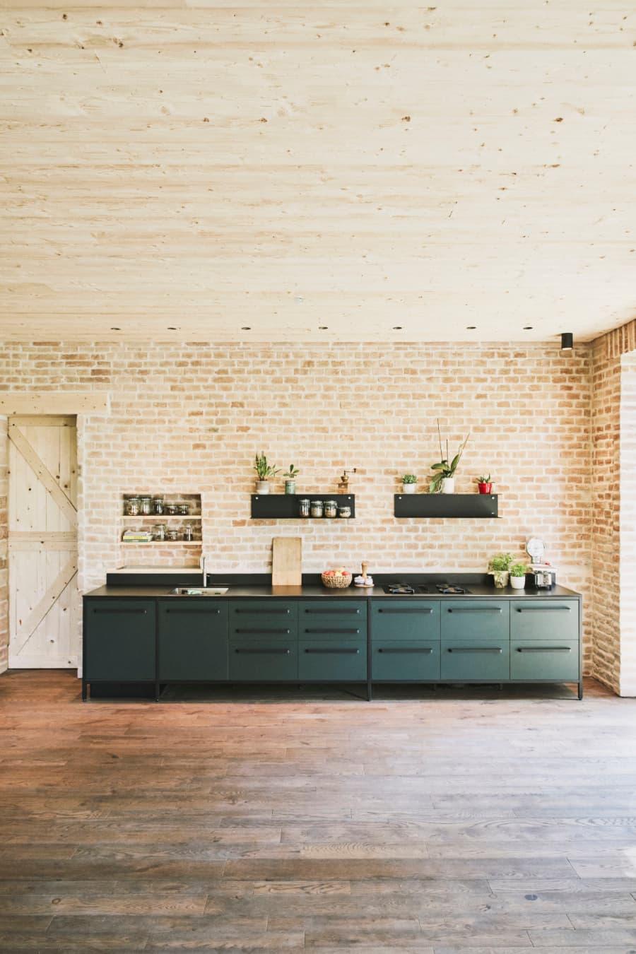 Modulküche-keep-Wandmodul-Linoleum-dunkelgrün-7-Elemente